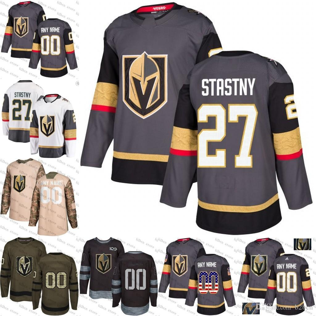the best attitude 45f5b 2c553 Men s Vegas Golden Knights 27 Paul Stastny white grey 100th Authentic  Custom Jersey stitched S-3XL