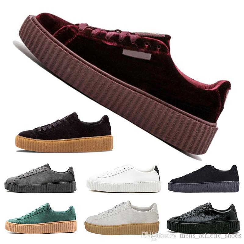 quality design 3167d 37fb0 Fashion Fenty Creeper Rihanna Women Basket Platform Casual Shoes Velvet  Cracked Luxury Leather Suede Mens Black White Red Green sneakers