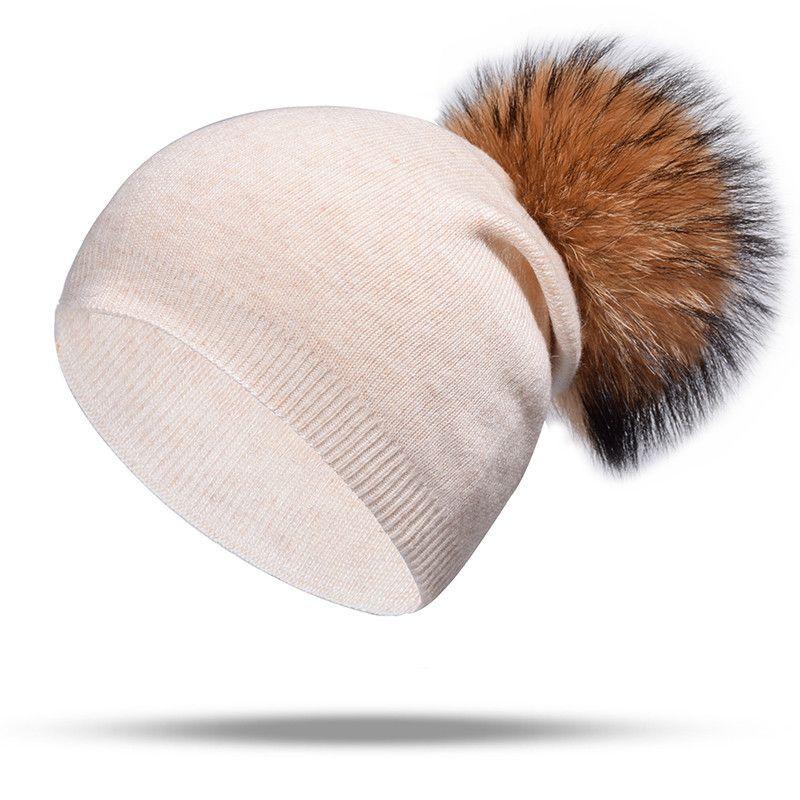 Compre Marca De Punto Sombrero Otoño Invierno Sombrero Gorros De Lana  Gorras Mujeres Moda Cachemira Casquillo Caliente Cabello De Visón Dama  Elasticidad ... bf1aec2fe701