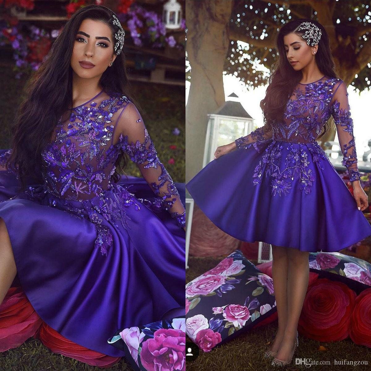 2019 Fashion Purple Short Prom Dress Sheer Long Sleeves Lace Applique  Sequins Beaded Cocktail Party Dresses Formal Evening Celebration Gowns Cheap  Red Prom ... b8b1241ffb83