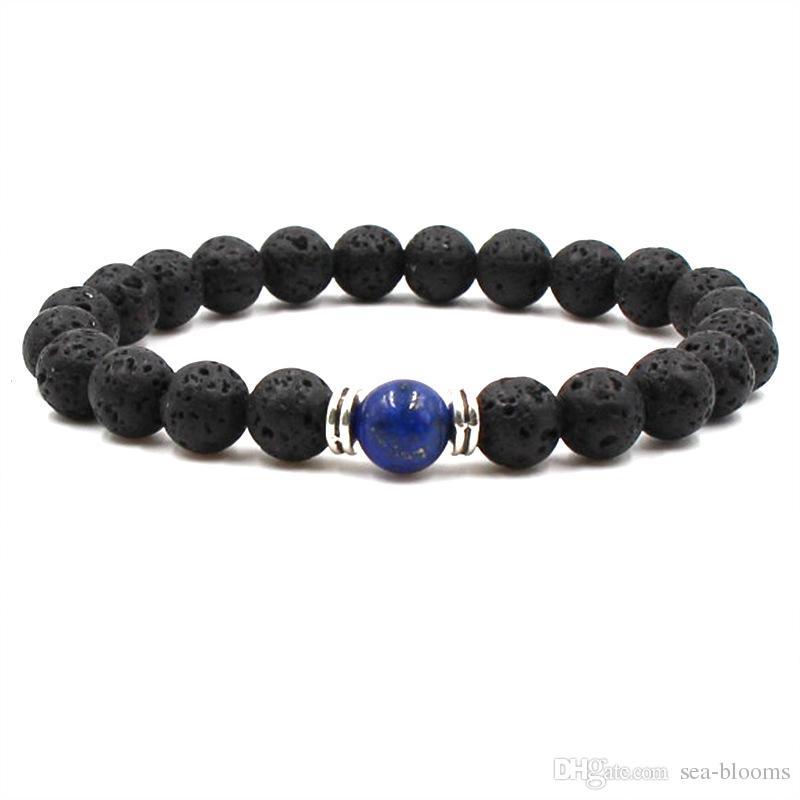 Black Volcanic Lava Stone Bracelets 8mm Yoga Beads Natural Stones Stretch Beaded Essential Oil Diffuser Bracelet Bangle Kimter-G116S FZ