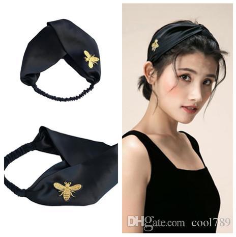 2018 Brand Designer 100% Silk Headband hair fashio bands for Women Newest Luxury high quality bee headbands