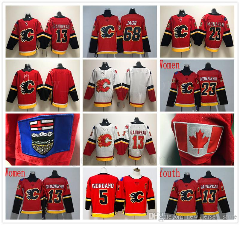 buy online 01606 b723d Calgary Flames 68 Jaromir Jagr Jersey Hockey Red White 5 Mark Giordano 13  Johnny Gaudreau 23 Sean Monahan Jerseys Men Women Youth Kids