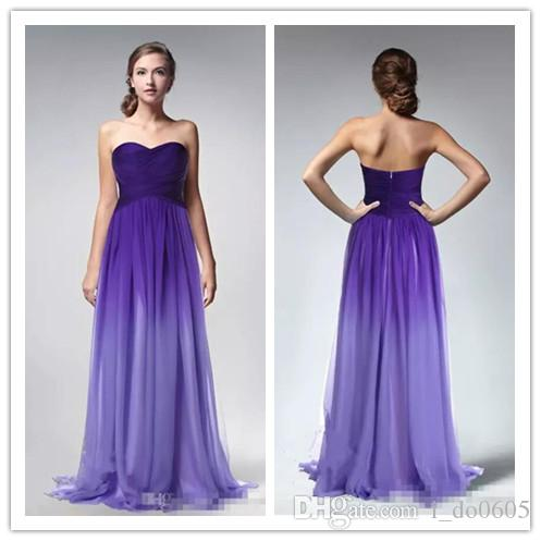 2018 Prom Dresses Gradient Ombre Backless Purple Chiffon Long Cheap ...