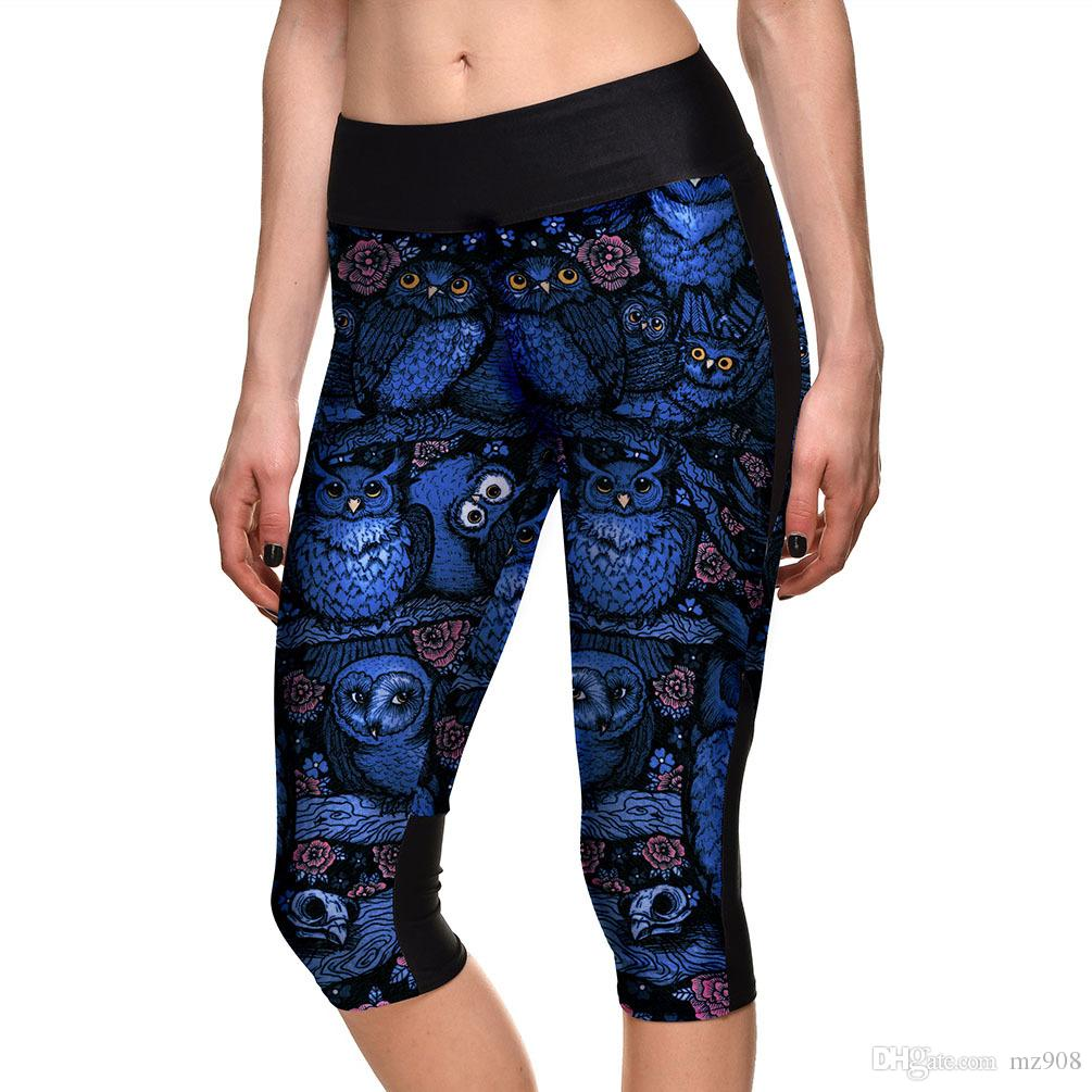 10ec8f5de8 2019 New Hot Night Owl Printing Mid Calf Length Yoga Pants Women Clothing  Ladies Fitness Legging Stretchy Trousers Skinny Leggings From Mz908