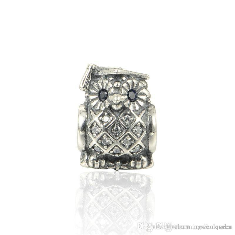 e10c064aab9 ... best price 2018 owl charms beads graduation s925 sterling silver fits  pandora style bracelets 791502nsb h9