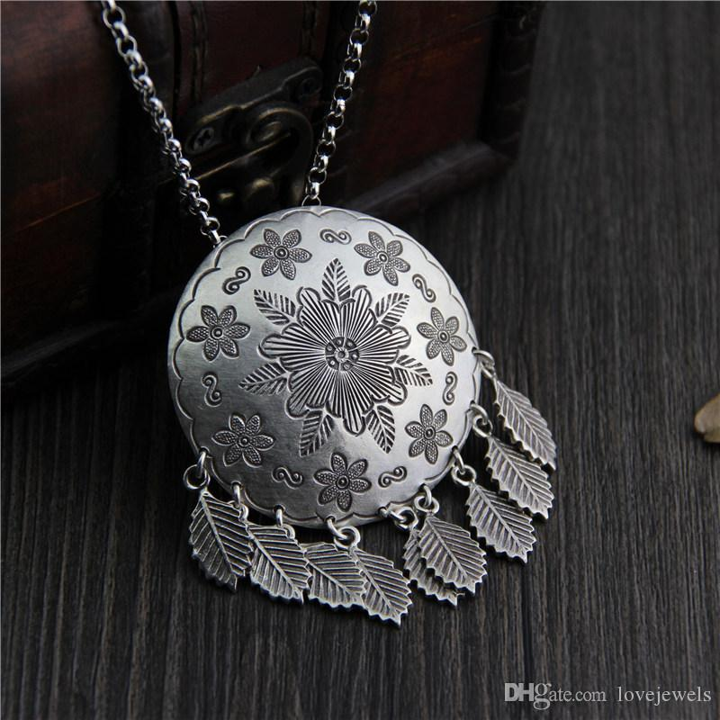 79c0eff235a2f designer jewelry vintage 925 sterling silver necklace handmade Original  handmade folk style Thai necklace sweater chain pendant china direct