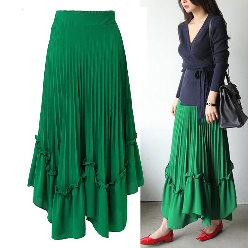 9543aa71f2926 femmes d été jupe shorts jupe maxi en mousseline de soie taille haute jupe  plissée streetwear occasionnel une ligne jupes longues femme