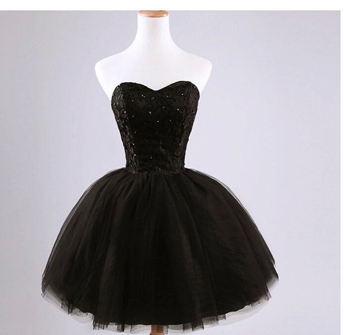 Noir Mini Courte Tulle Fête Robes Jolies sans bretelles Perles De Lacets Robe Robe Sweet Homecoming Robe Sweet 16 Robes