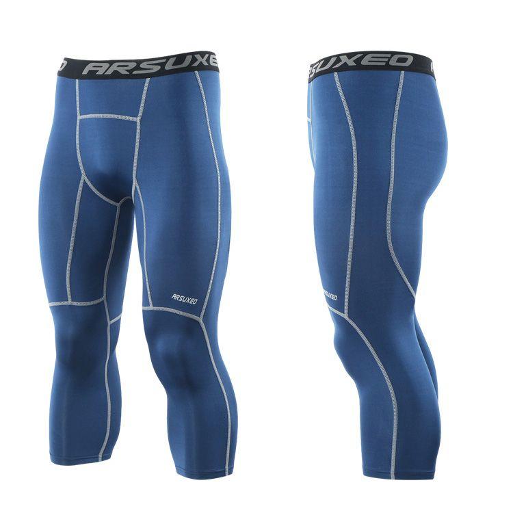 Pantalone da running da uomo 3/4 Compression Leggings sportivi Gym Fitness Sportswear Training Pantaloni da yoga uomo Pantaloni corti
