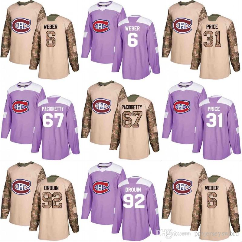 591fba90b 2019 Montreal Canadiens Jersey Veterans Day Fights Cancer Practice 6 Shea  Weber 31 Carey Price 67 Max Pacioretty 92 Jonathan Drouin Jerseys From ...