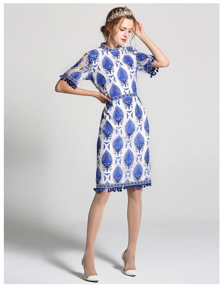 New Arrival 2017 Spring Summer Women's O Neck Short Sleeves Printed Jacquard Tassel Detailing Straight Elegant Runway Dresses