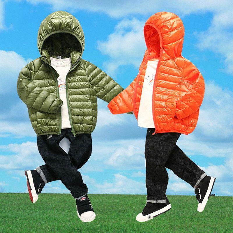 quality design 30c5d 025bb 2018 neue Jungen Kinder Winter Jacke Kinder Mädchen Baby mit Kapuze  Daunenmantel Jacken Ultra Light Zipper Ente Feder Kind Oberbekleidung