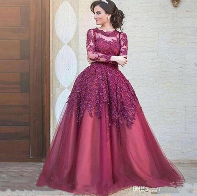 Compre 2018 Elegant Purple A Line Vestidos De Noche Apliques Con ...