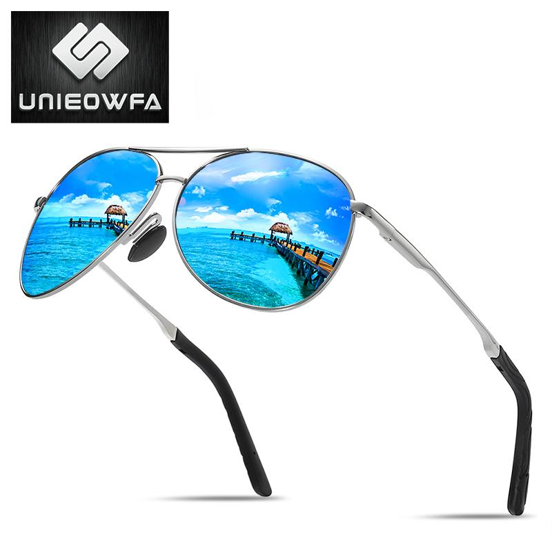 c657b06185 Compre UNIEOWFA Hombre Gafas De Sol Polarizadas Hombres Azul Espejo Gafas  UV400 Piloto Polaroid Gafas De Sol Para Hombres 2019 Diseñador De La Marca  A ...