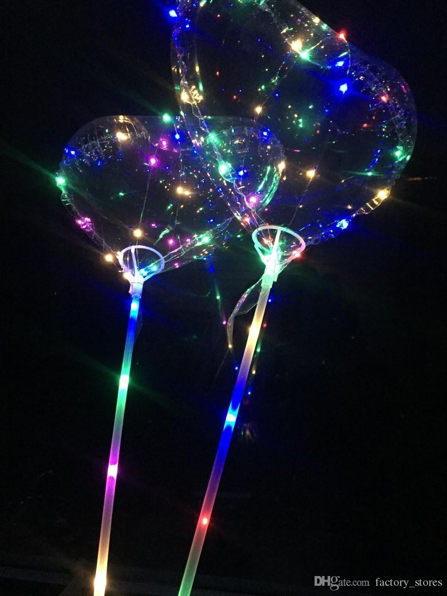 Love Heart Shape LED Light BoBO Balloons Luminous Transparent 3 Meters Balloon with Pole for 2018 Valentines Day Wedding Party Decoration