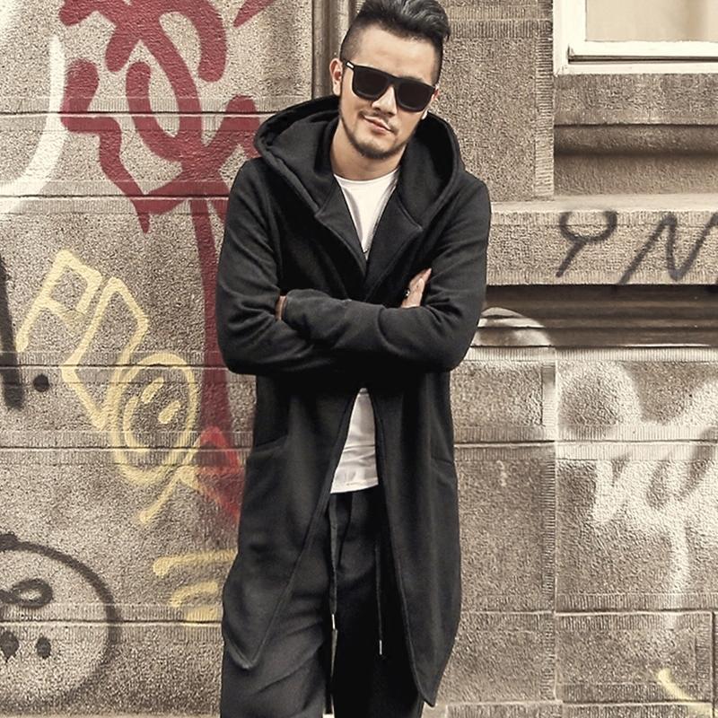 1e7b06945e 2019 Autumn Winter Long Stretch Cotton Fleece 2017 Men Coat Men Slim Casual  Fashion Thick Black Cardigan With Hat Men European Style Y181101 From  Zhengrui04 ...
