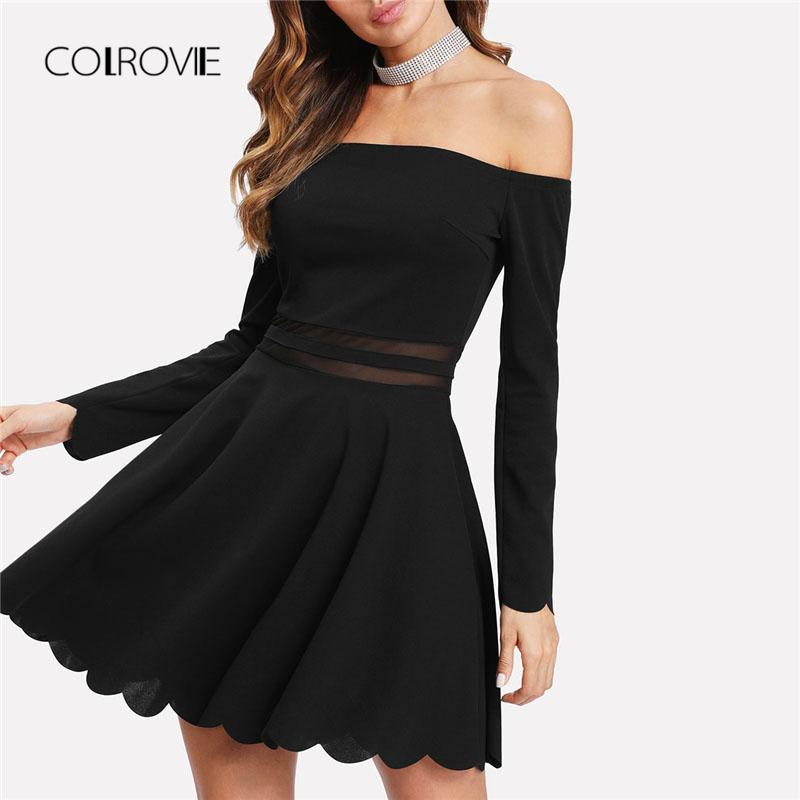 X Colrovie Mesh Insert Bardot Fit Flare Dress 2018 New A Line Long