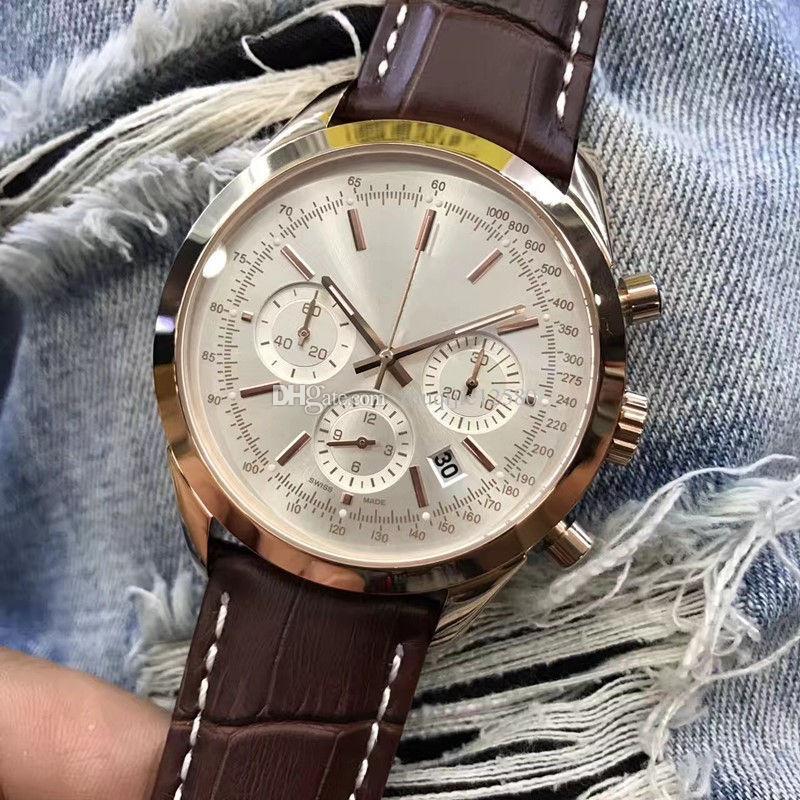 Cuarzo Lujo Nuevo Correa Cuero Relojes Masculinos Hombre Marrón Cronógrafo Para 2018 46mm Estilo Transocean Reloj De Esfera QrdhxotsCB