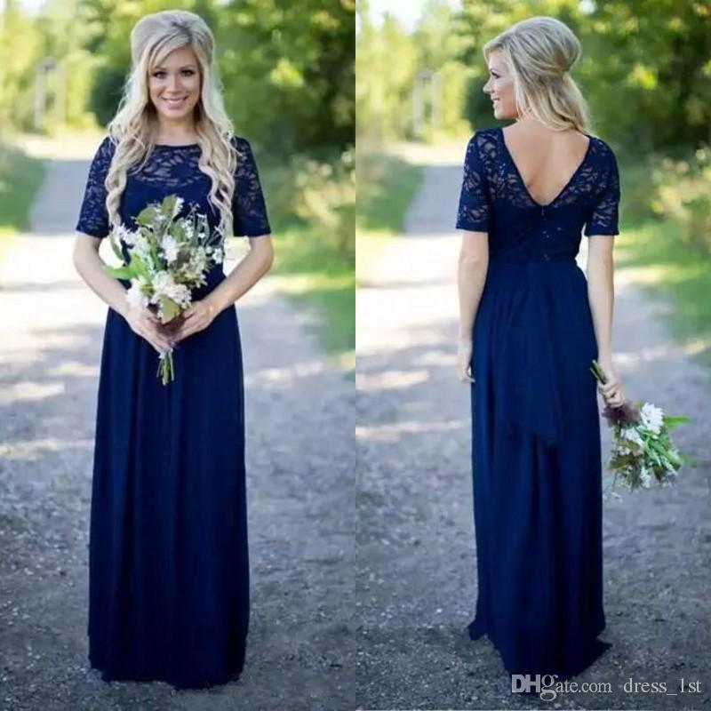 88dd3b5b2c Bright Royal Blue Bridesmaid Dresses Fall 2018 Bateau Neckline Short  Sleeves A Line Lace And Chiffon Maid Of Honor Country Wedding Dresses  Orange Bridesmaid ...