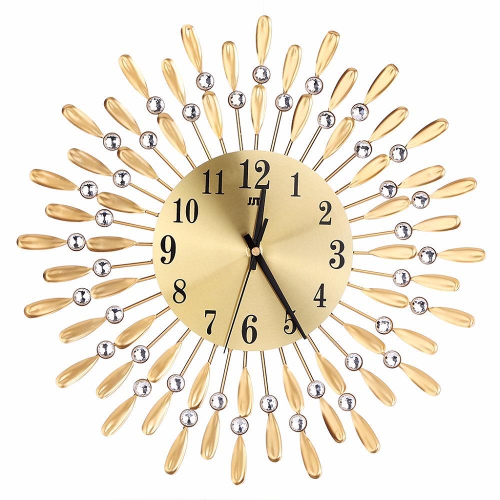 64b2c896572 Arte de Luxo Diamante Moderno Relógio De Parede De Metal Grande Relógios  Montados Na Parede Casa Sala de estar Decoração de Escritório Preto   Ouro  de Alta ...