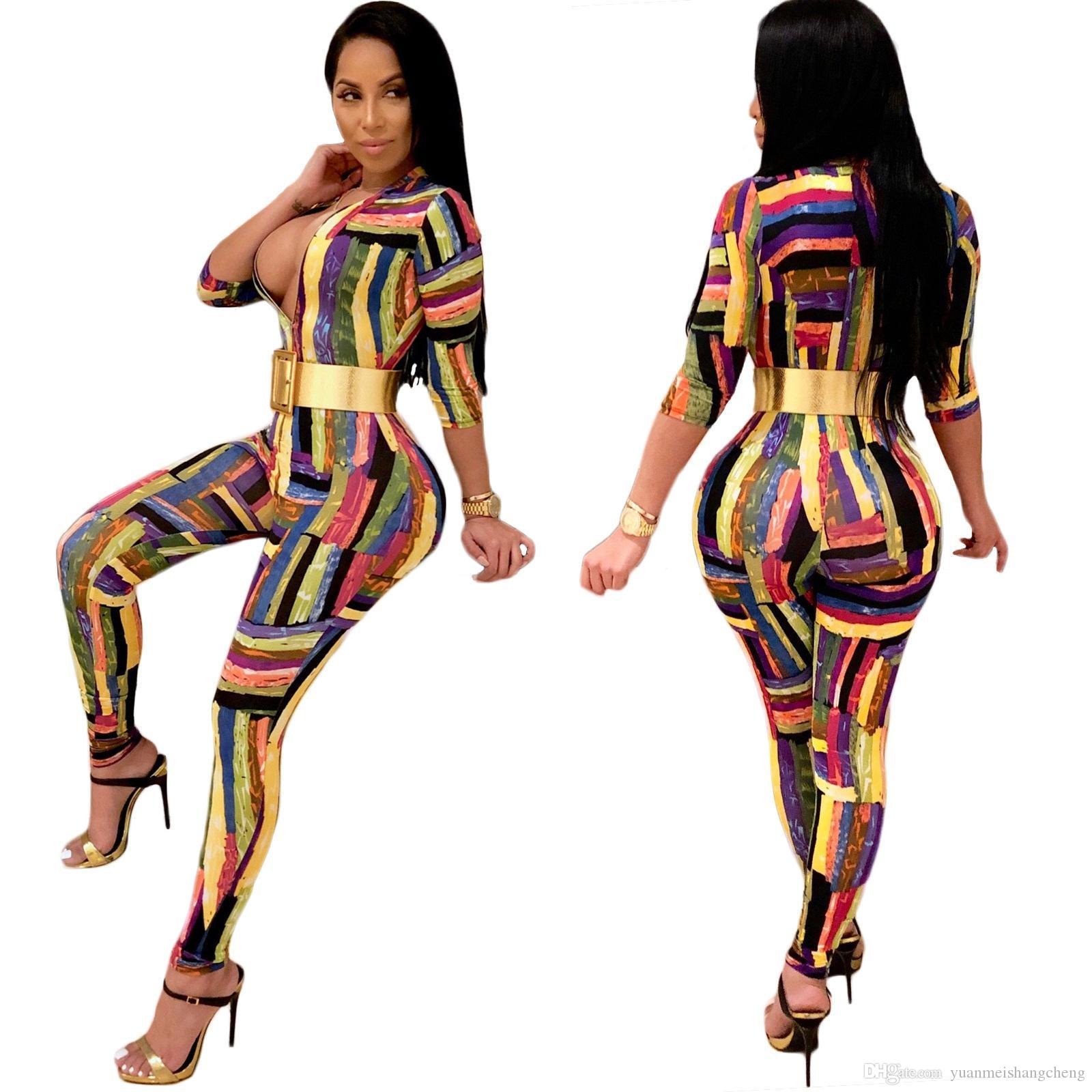 e9b6ea64c58 2019 2018 Graffiti Ink Striped Casual One Piece Jumpsuit With Sleeve Women  Sexy Skinny Front Zipper Long Pants Club Romper Slim Overalls From ...