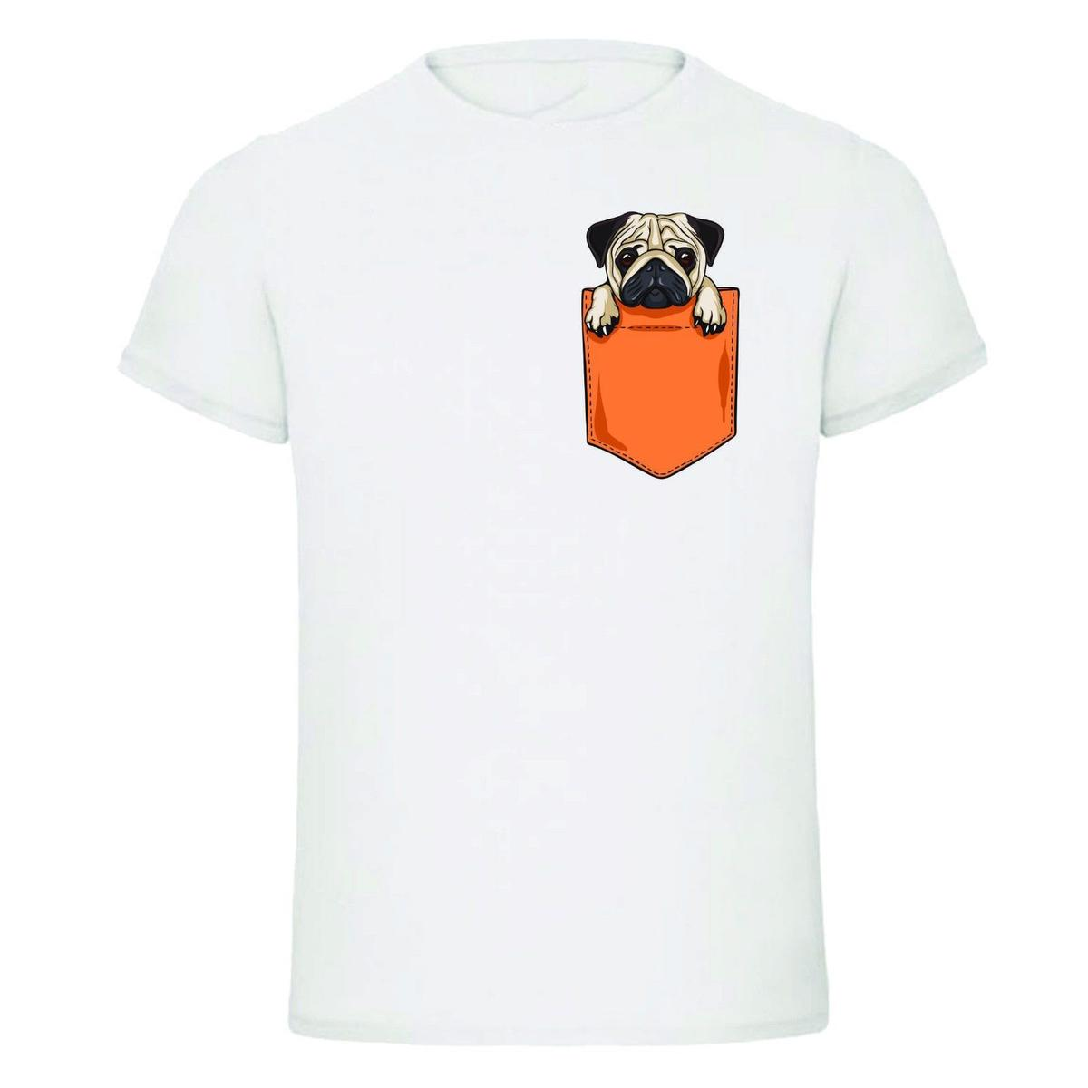 Pug In Pocket Funny Comical Dog New Design Kids Mens T Shirt Tees