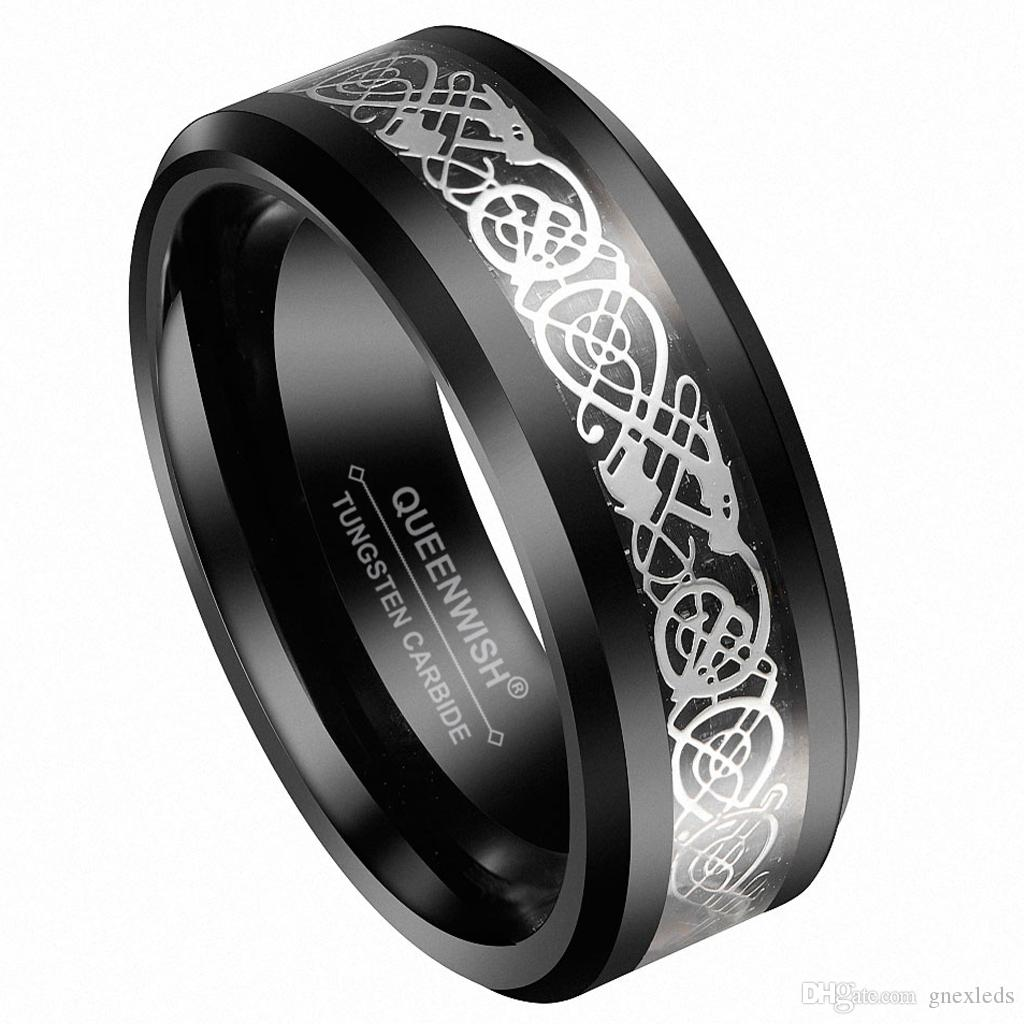 2019 8mm Men's Tungsten Black Celtic Silver Dragon Band Ring Eternity Wedding Rings For Couples Jewelry From Gnexleds 180 Dhgate: Bands Celtic Black Wedding Tungsten With At Websimilar.org