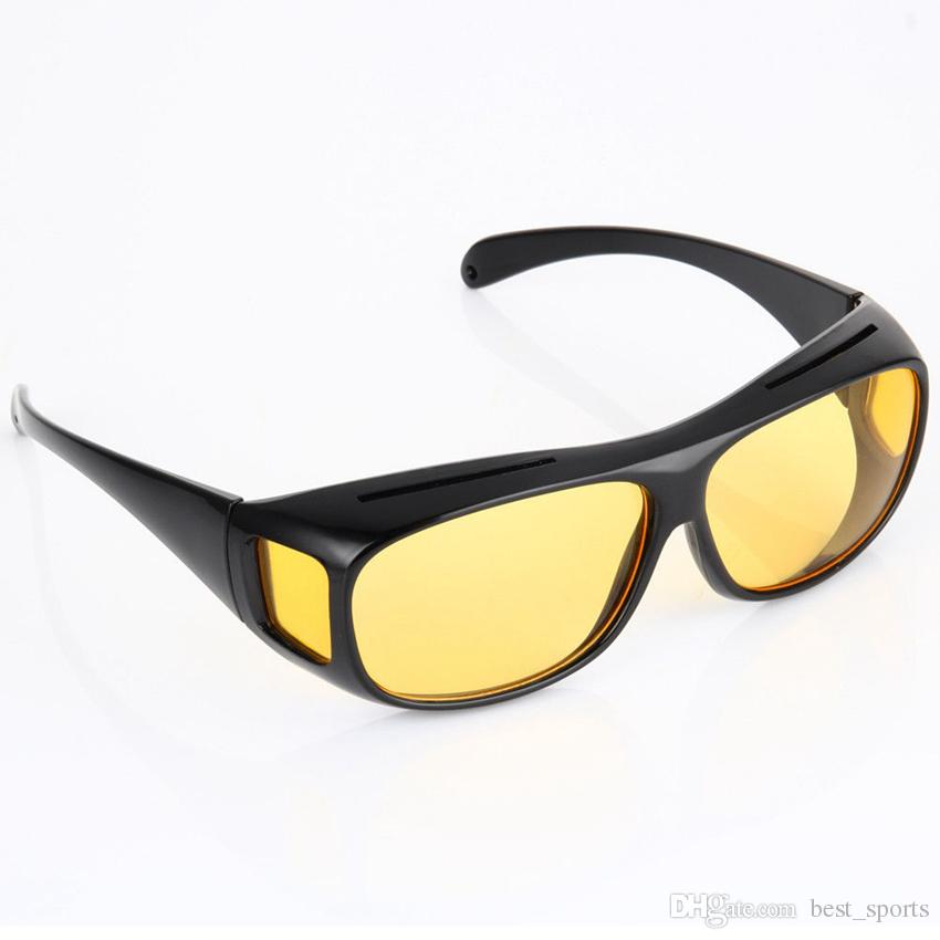 HD Night Vision Driving Sunglasses Yellow Lens Over Wrap Glasses Dark Driving Protective Goggles Anti Glare Outdoor Eyewear GGA124
