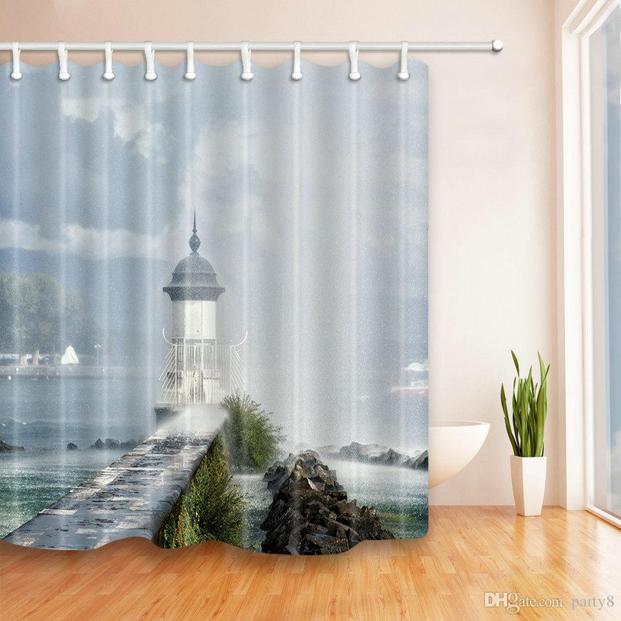 2018 Seaside Lighthouse Fashion Shower Curtains 69 X 70 Inch