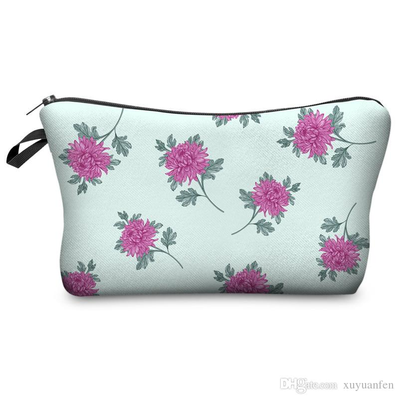 3D Printed flower Cosmetic Bags for Travelling Storage Women's Travel Storage Fashion Cute for gift Christmas