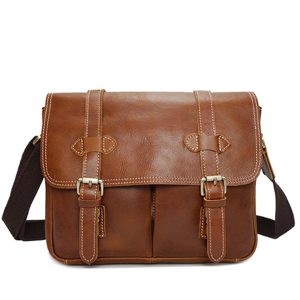 00272514d9a3 Hand Made Genuine Leather Single Shoulder Bag Vintage Brown Black Multi  Function Crossbody Bag Fashion Cow Leather Camera Cheap Bags Shoulder Bags  For Women ...
