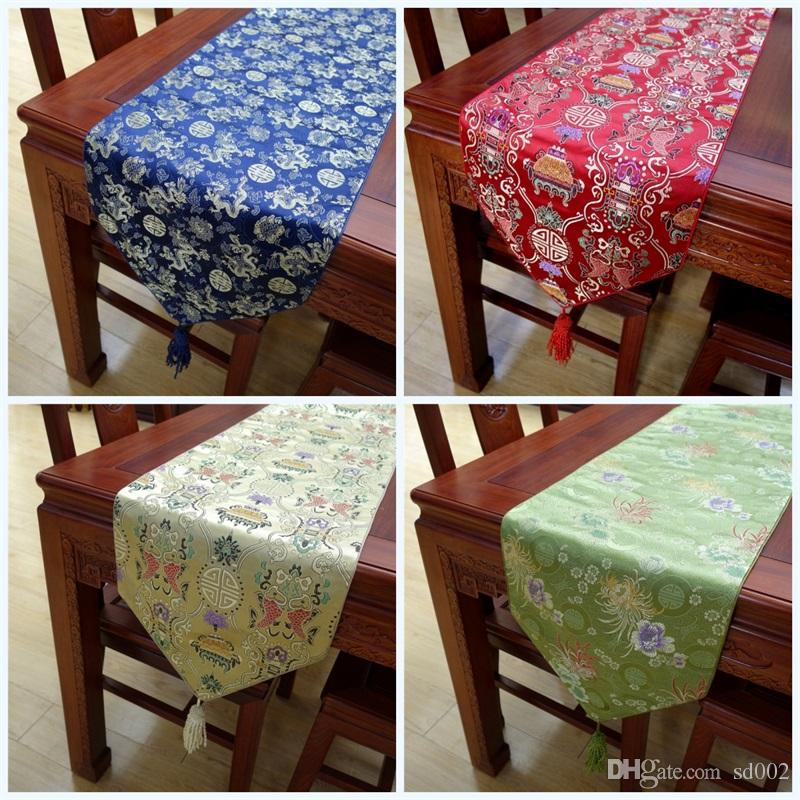 9b7c142e78ca Chinese Knot Silk Table Runner Patchwork Desk Cloth Cherry Blossoms Luxury  Square With Multi Color Exquisite Tablecloths 35sj Jj Party Table Cloths  Party ...