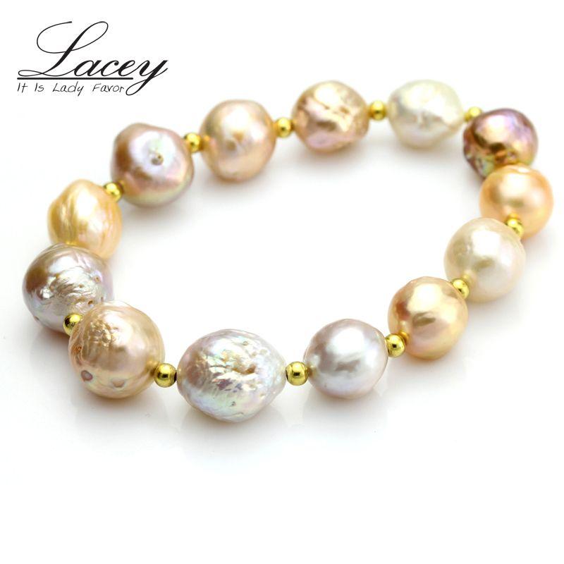 08527a4ef45f Real pulseras de perlas barrocas naturales multiculturales pulsera de  perlas de agua dulce joyería de plata 925 hija de la boda regalo de ...