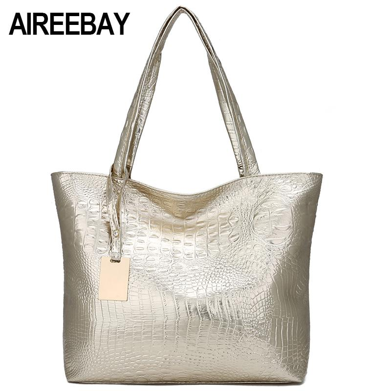 AIREEBAY Brand Designer Women Shoulder Bags 2018 Fashion Gold Crocodile  Handbag Female PU Leather Big Capacity Tote Shopping Bag Satchel Laptop Bags  From ... 525d49d6f7c5a