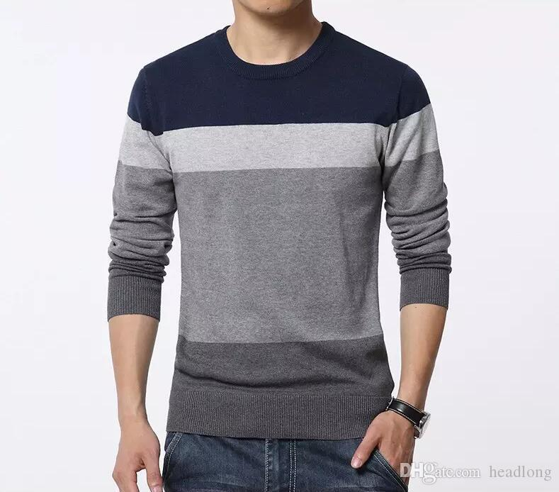 New Autumn Fashion Brand Casual Sweater O-Neck Striped Slim Fit Knitting  Mens Sweaters And Pullovers Men Pullover Men 5XL bf5b8bf83