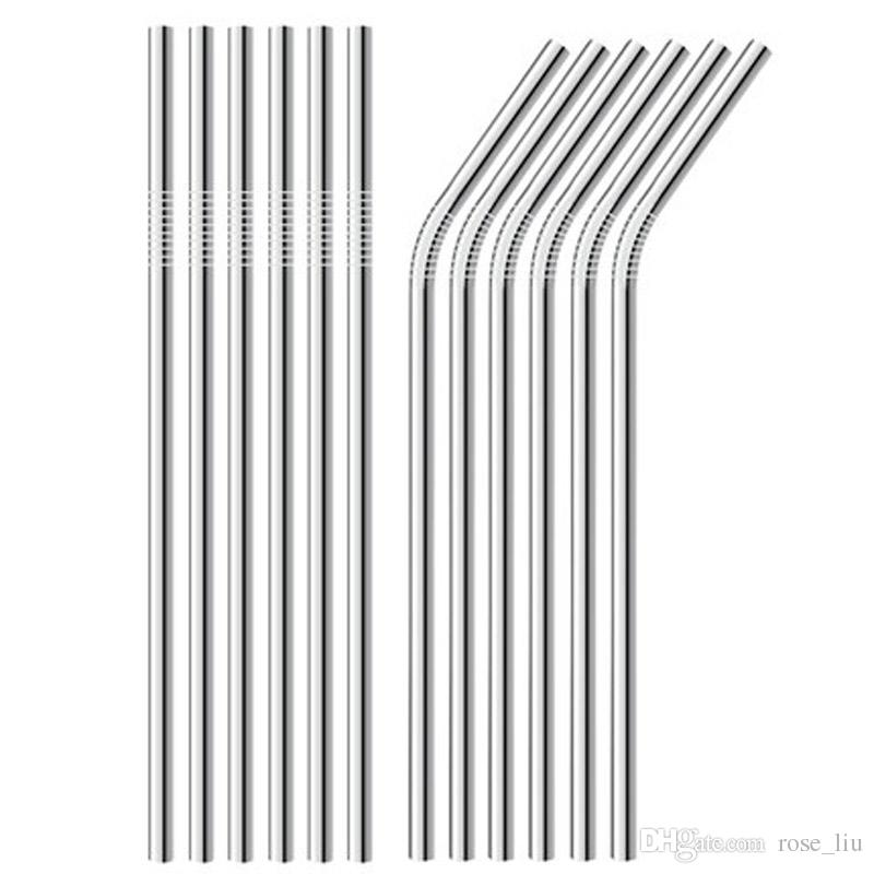 215MM length Durable Stainless Steel Straight and bend Drinking Straw Straws Metal Bar Family kitchen 20oz cup drinking straw B