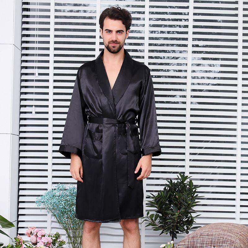 490c204df Men s Single Silk Dressing Gown Summer Long Sleeve Thin Style Pajamas Rayon Robes  Sexy Pajamas Extra Size Pure Black Bathrobe