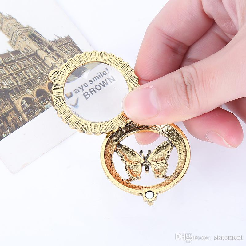 """Butterfly 4x Magnifier Magnifying Glass Sliding Top Magnet Pendant Necklace 24"""" Antique Gold Locket Long Necklace Jewelry"""