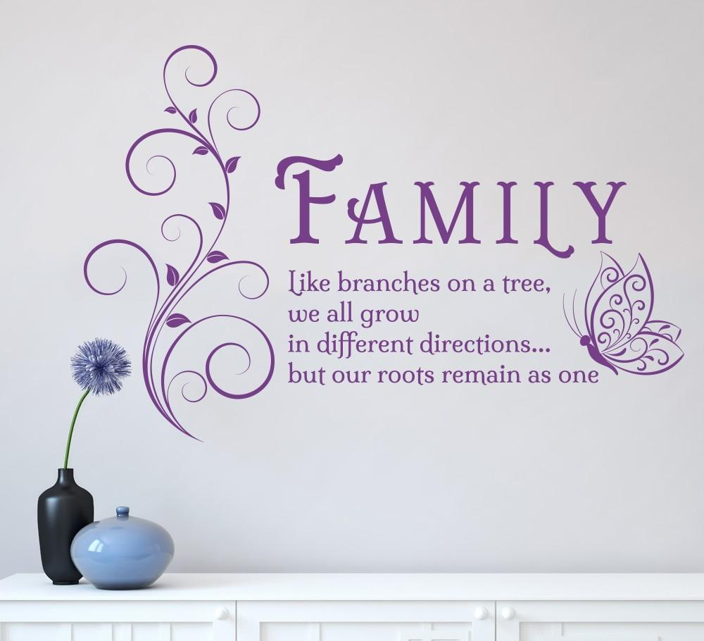 Family Like Branches Quotes Butterfly Vinyl Wall Art Sticker For