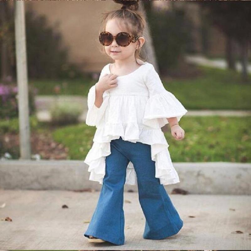 2017 hot sale fashion baby girls jeans Flares pants boot cut jean long trousers for kids girls childrends jeans DK0127