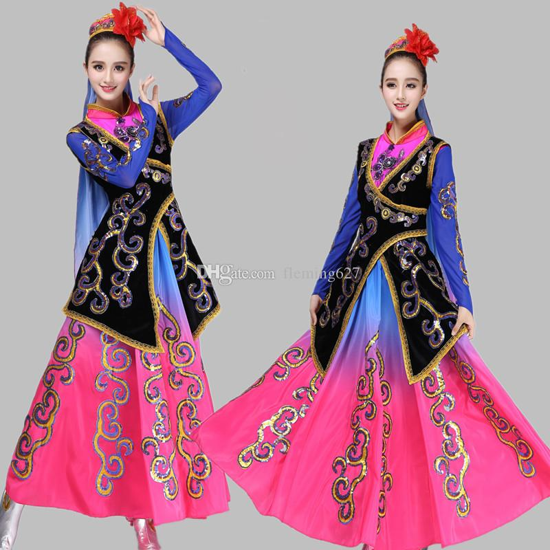 81e63ca61 2019 Chinese Minority Long Dress New Style Xinjiang National Female Clothes  Traditional Chinese Folk Dance Costumes Women Ethnic Stage Wear From  Fleming627, ...