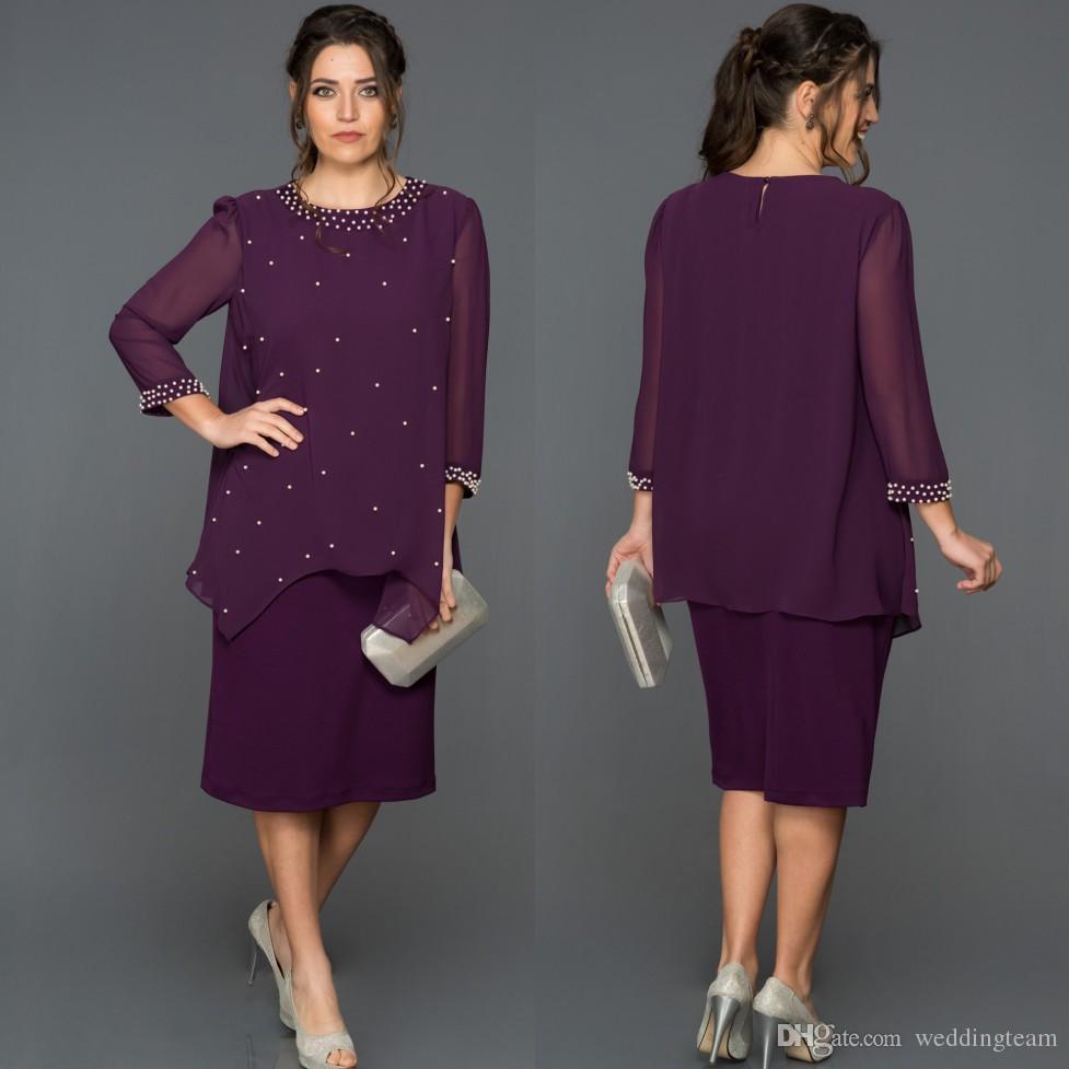 bc6d281c87e0f Satın Al Mor Boncuklu İki Adet Anne Gelin Elbiseler Jewel Boyun Artı Boyutu  Düğün Konuk Elbise Uzun Kollu Çay Boyu Şifon Abiye Giyim, $111.91 | DHgate.