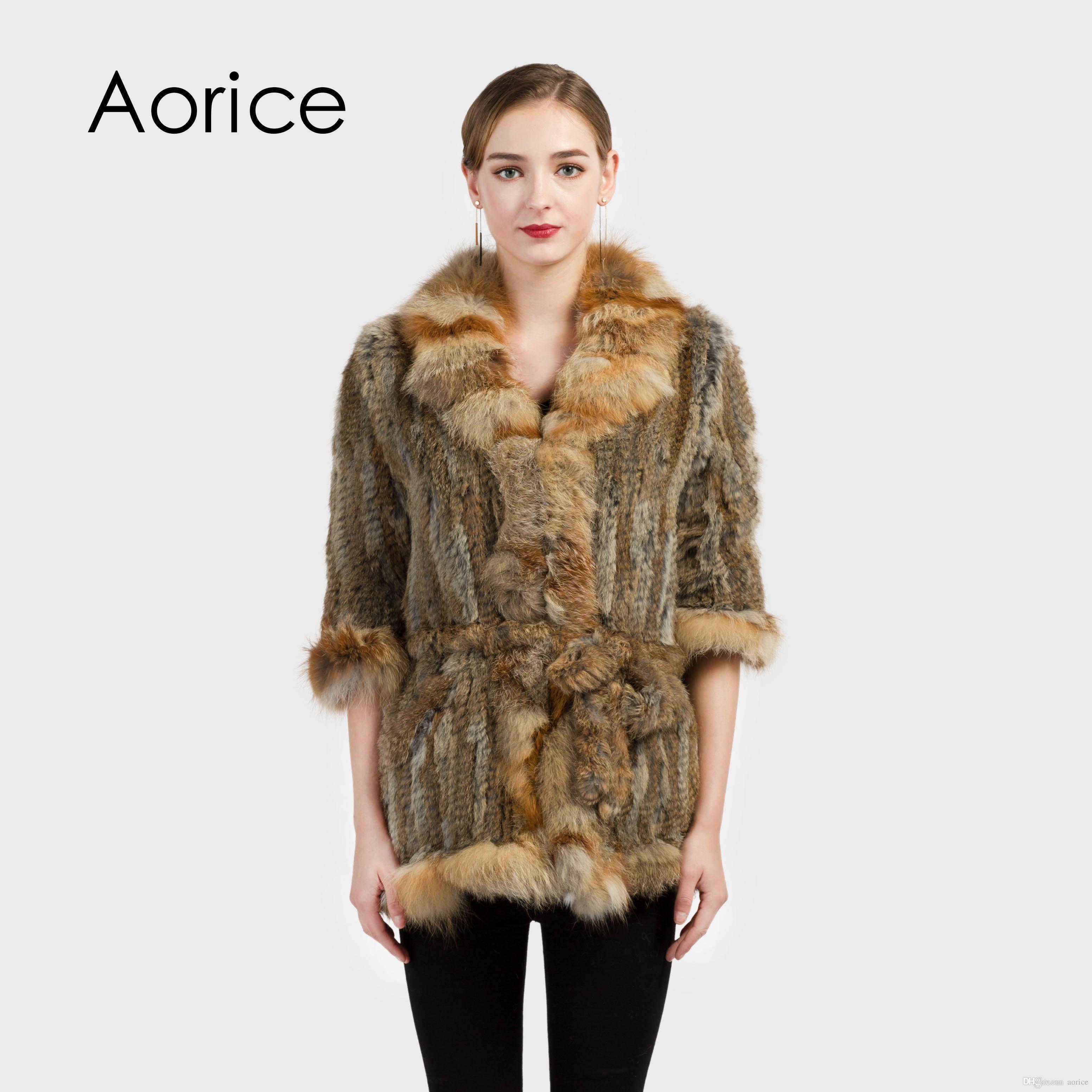 436b5e62c3c 2019 Pudi CT7017 Genuine Rabbit Fur Coat Women S Warm Natural Real Fur Long  Jacket With Fox Fur Collar Belt Plus Size Customized From Aorice