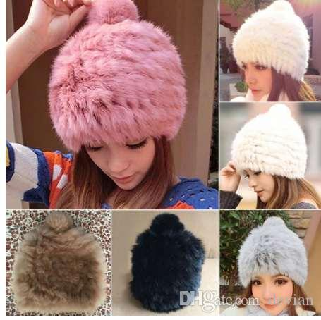 Women Rabbit Fur Hat Winter Fluffy Warm Caps Ladies Faux Fur Pom Pom Hat  Female Beanies Cap Skullies Bonnet Femme Gorro Knit Hats Cheap Hats From  Devian 75010c18bca