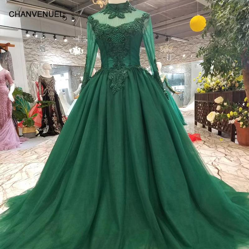 1bf44f5ff1d5c 2019 Muslim Occasion Dresses Women High Neck Long Sleeves Lace Up Back  A-Line Green Mothers Of Brides Dresses Long Party Dress Evening