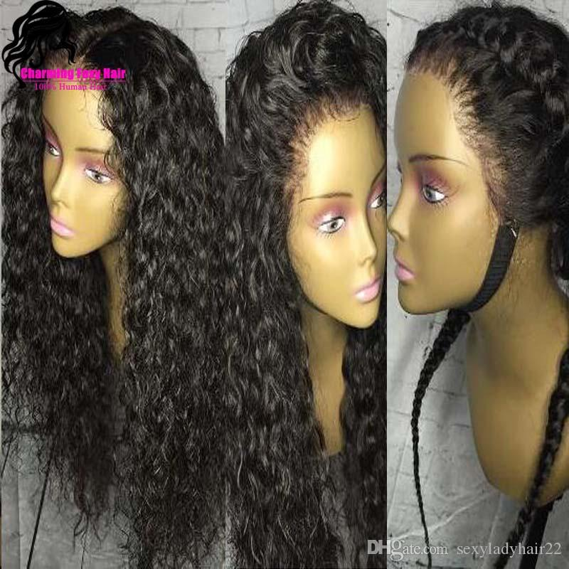 Long loose Curly Wigs with Baby Hair Black Color Full Density Synthetic Lace Front Wig for Women