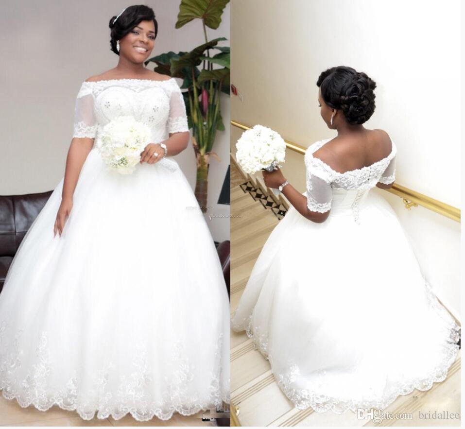 Robes de mariée de taille plus 2018 robes de mariée en dentelle de luxe à demi-manche en train de balayage robes de mariée avec dentelle Applique ainsi que des robes de mariée de taille