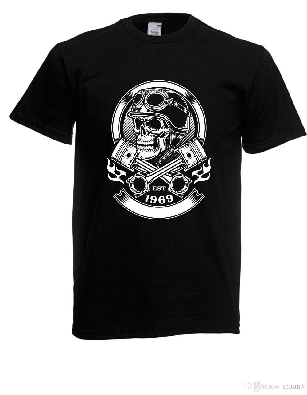 best service 40089 ccdb0 Herren T-Shirt Vintage Biker Skull bis 3XL Round Collar Short Sleeve Tee  Shirts top tee Men T Shirt 100% Cotton Print Shirts