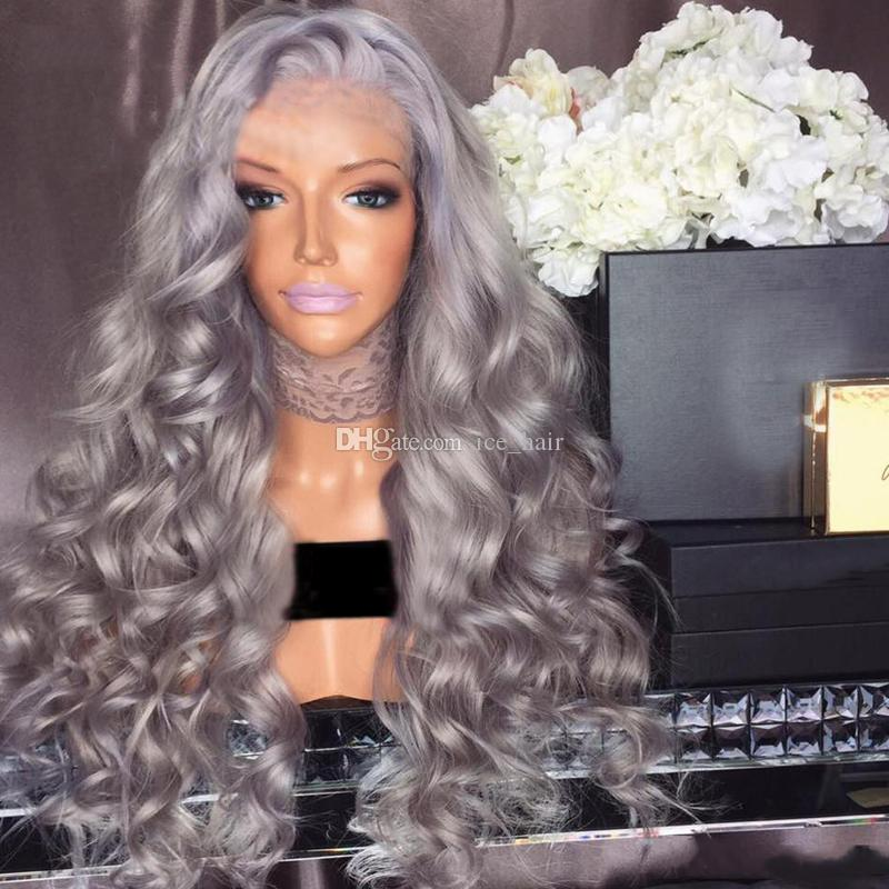 glueless full lace wig Virgin hair Brazilian body silver grey human hair wig with natural hairline baby hair